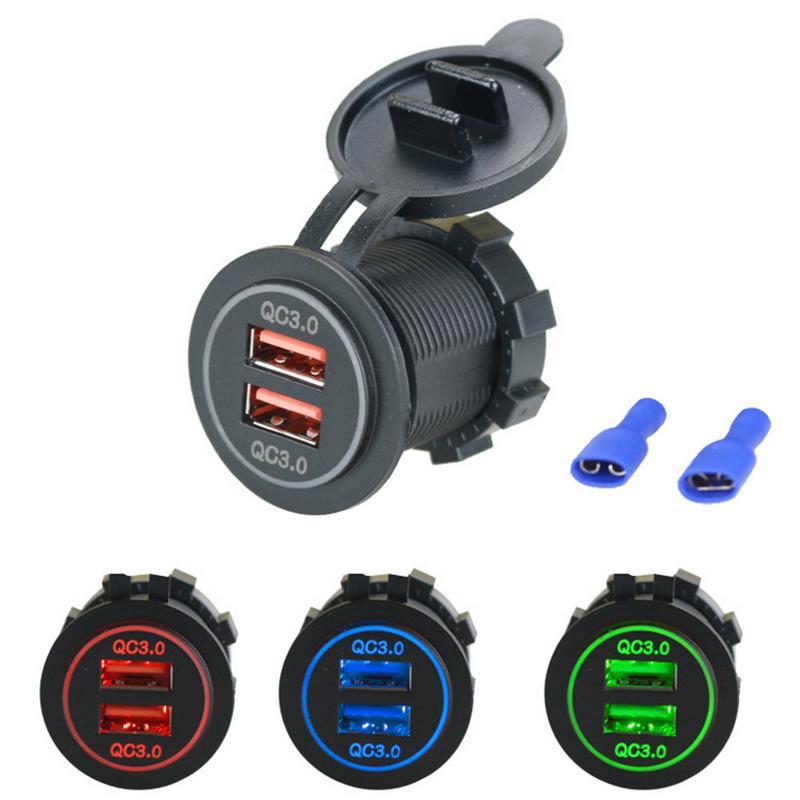 Двойной USB Quick Charge 3,0 LED быстрое зарядное устройство для 12 V/24 V Авто Лодка мотоцикл внедорожник автобус; грузовик; аксессуары для легковой автомобиль