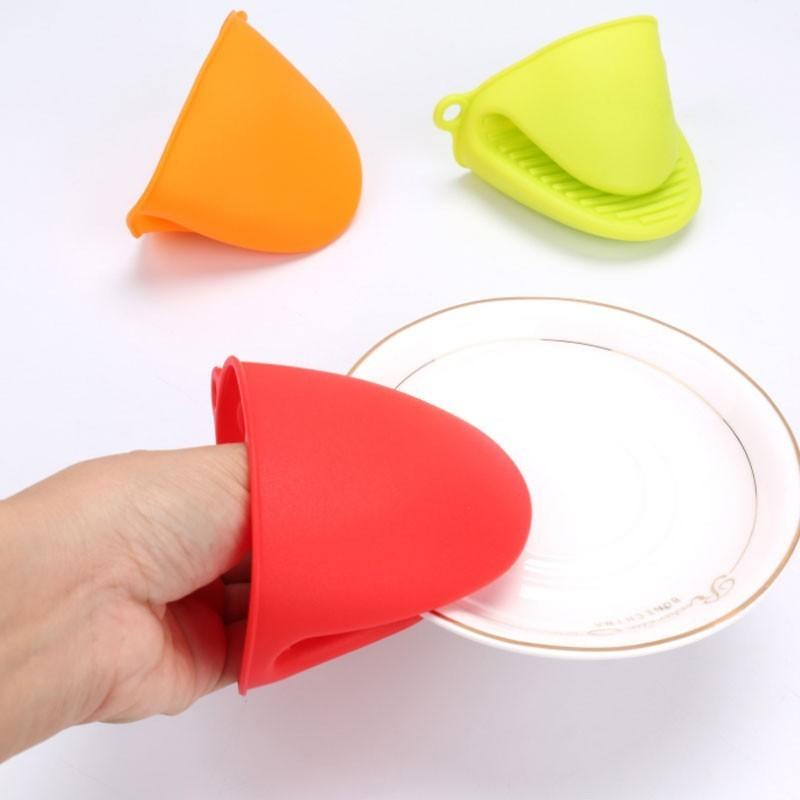 Guantes de silicona resistentes al calor Clips herramientas de hornear olla aislamiento del intestino antideslizante soporte Clip cocina hornear guantes