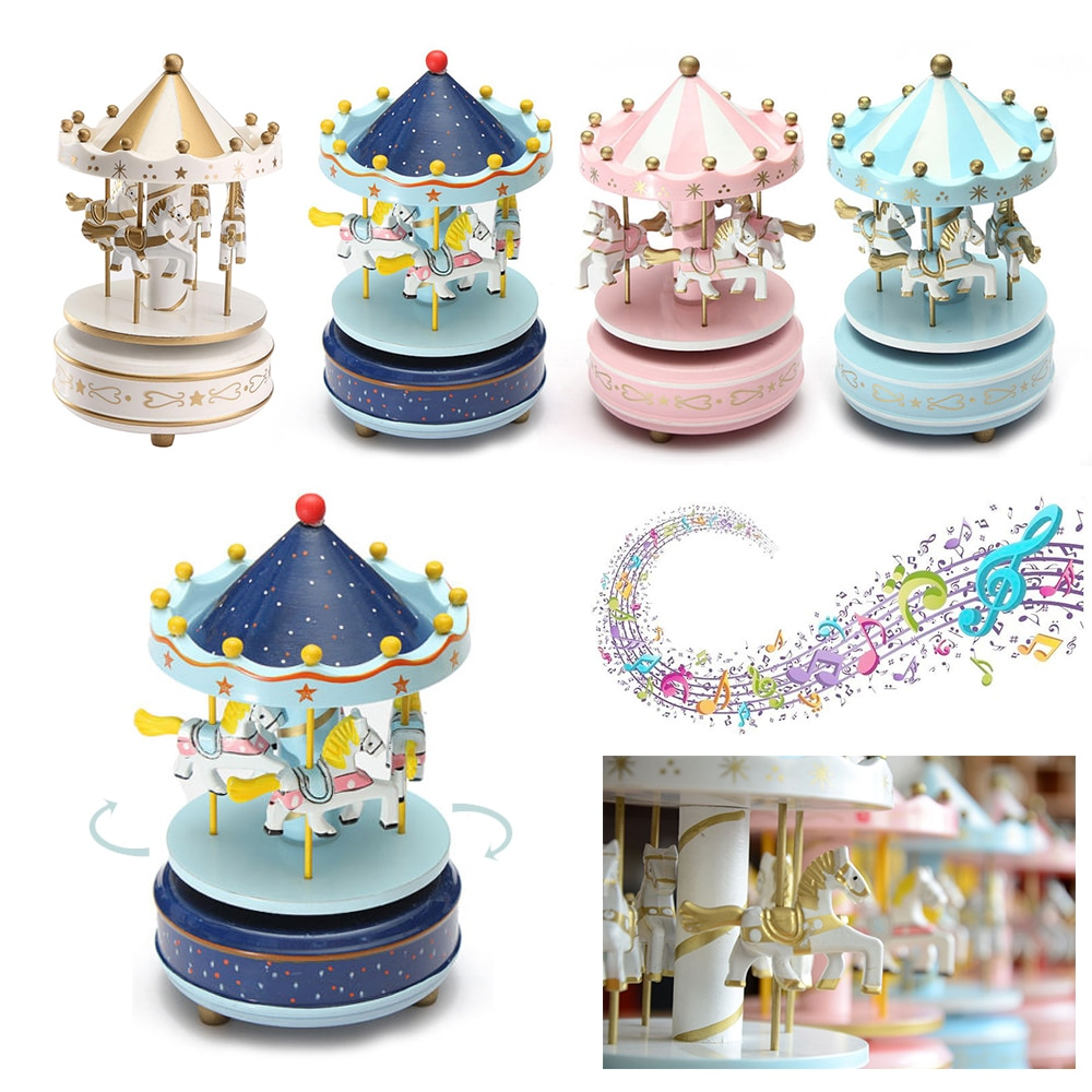 Hot 4 Horses Merry-go-round Music Box Musical Carousel Kids Toy Horse Wooden Carousel Music Box Birt