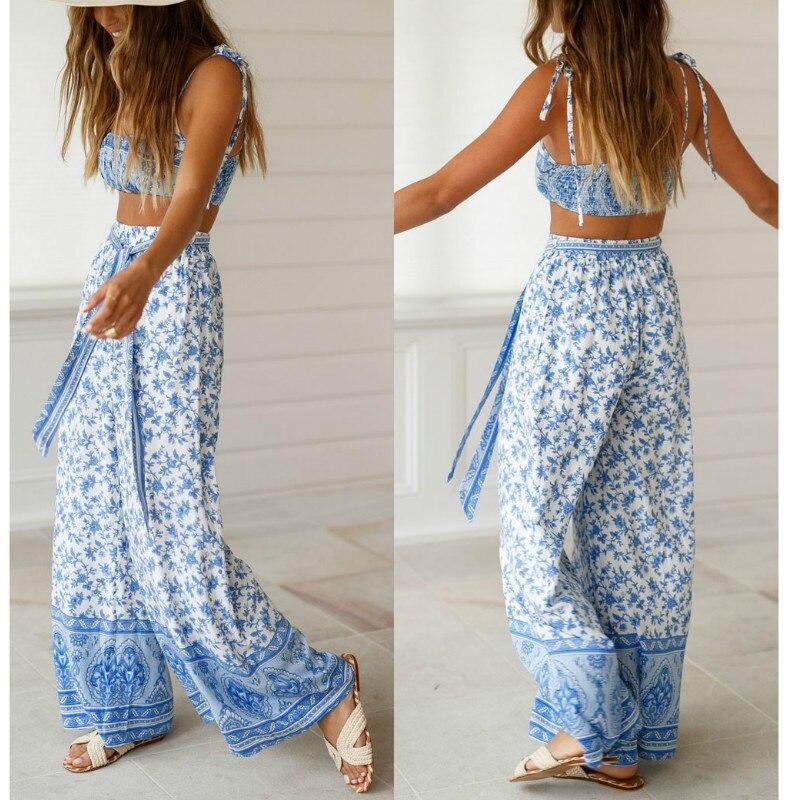 Women  Summer Boho Sets Camis Crop Tops +Long Pants Sleeveless Wide Leg Long Trousers