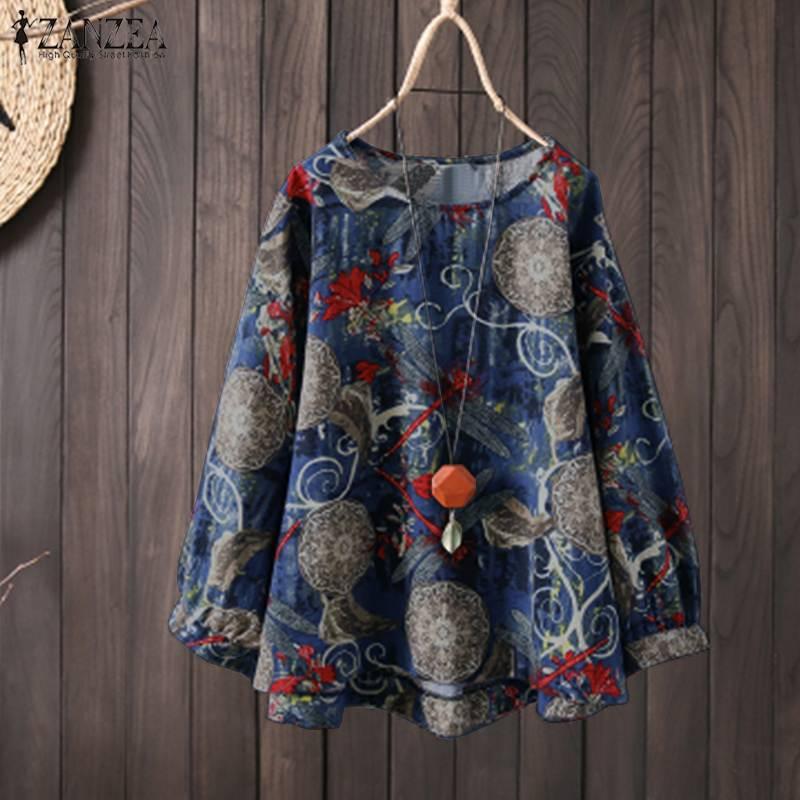 Zanzea primavera feminina blusa boêmia casual o pescoço manga longa vintage floral impresso camisa solta algodão linho topo femme