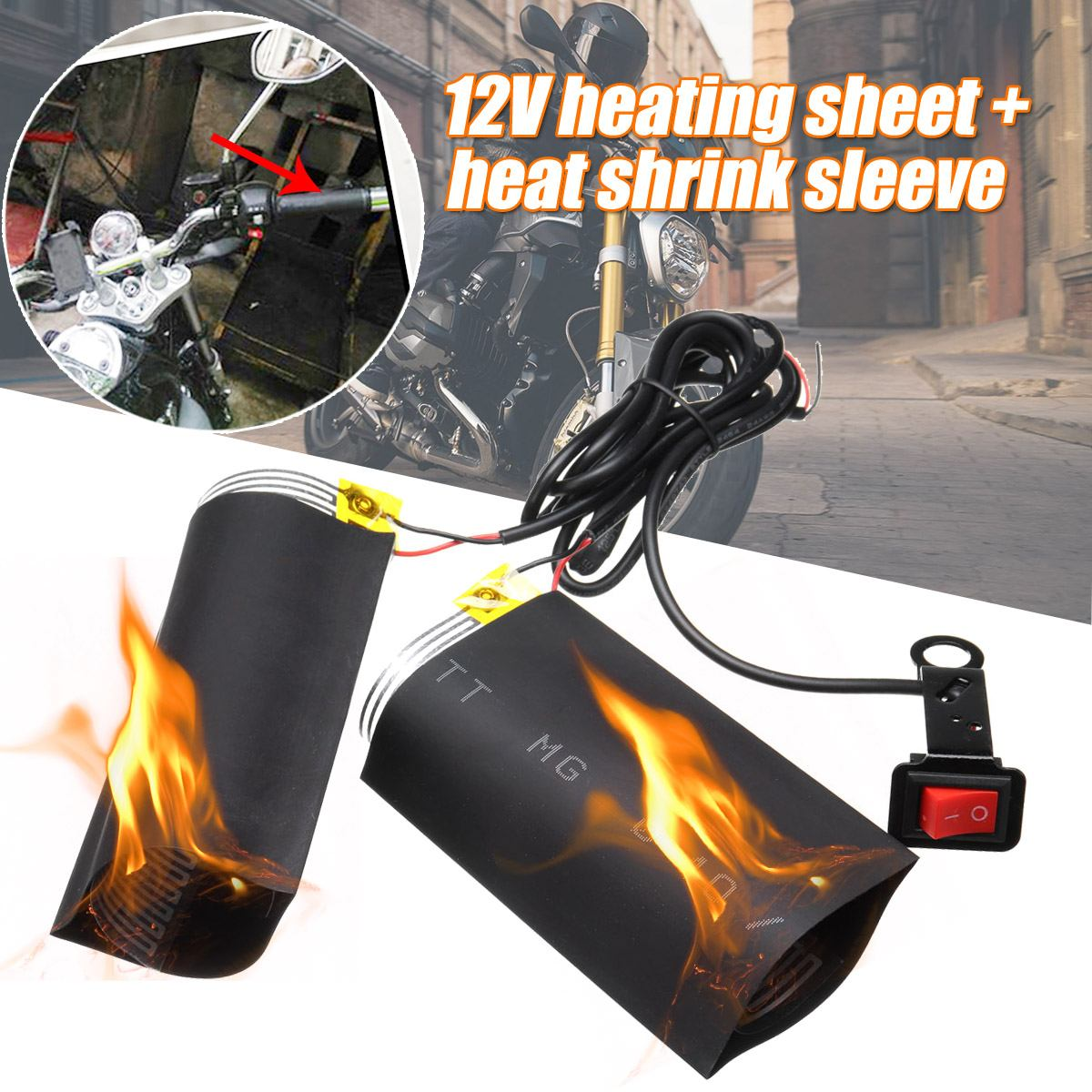 Empuñaduras calefactables universales para motocicleta de 12V, Kit de manillar calefactado, almohadilla para manillar de motocicleta