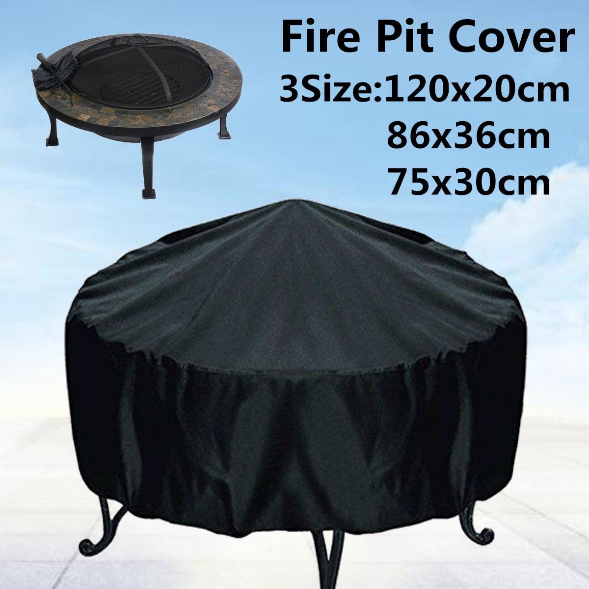 Couverture noire pour pare-feu de Patio   3 tailles, protection UV pour barbecue abri de barbecue, couverture de meubles ronde pour jardin et jardin en plein air