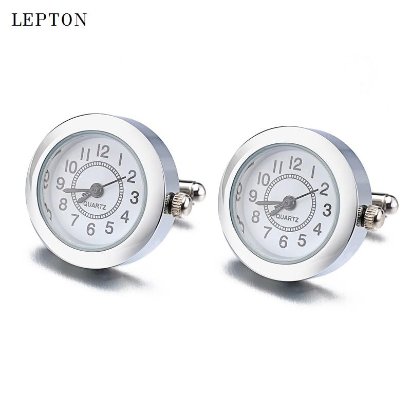 Hot Functional Watch Cufflinks For Mens Round Real Clock Cuff links With Battery Digital Watch Cufflink cuffs Relojes gemelos