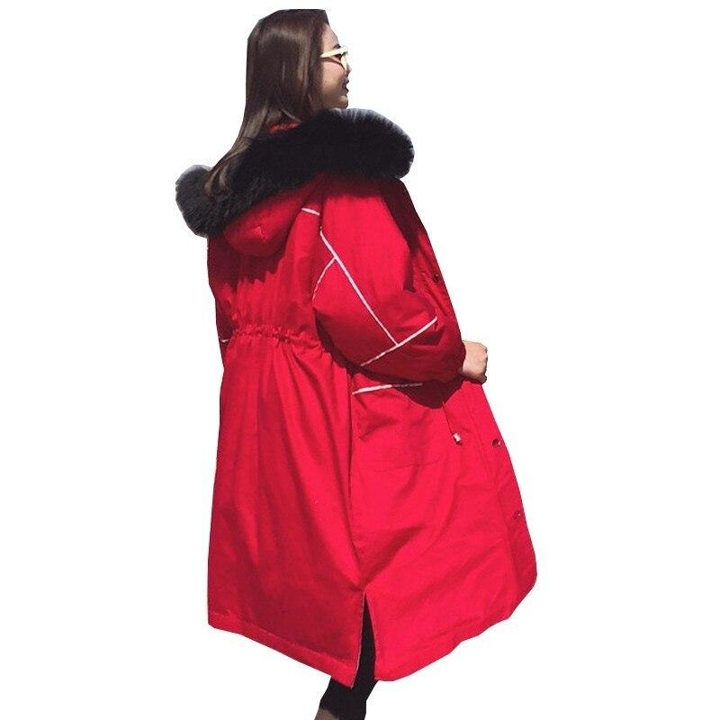 Abrigos de invierno para mujer 2018, Chaqueta larga de plumón, chaqueta de invierno a la moda, holgada, con cintura, color rojo, para mujer, Abrigo acolchado para mujer