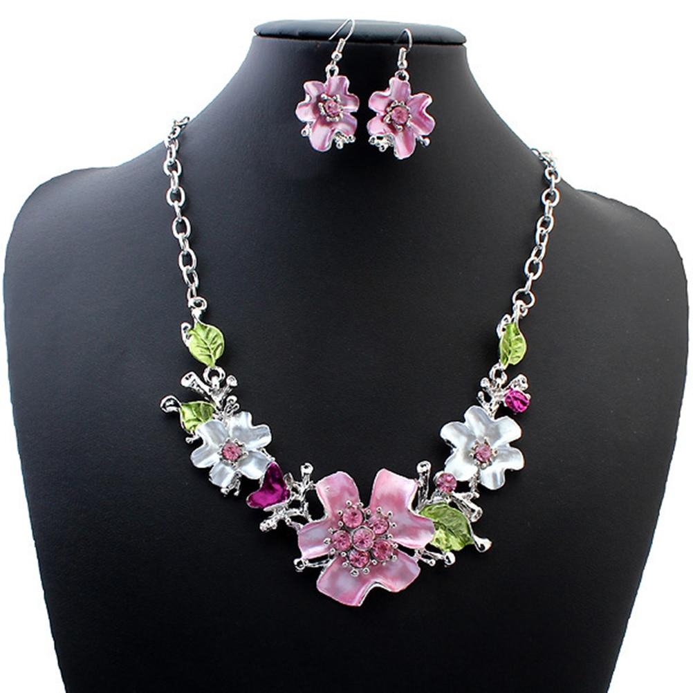 Flor floral colar brinco conjunto de jóias traje conjunto para dama de honra mulher noiva