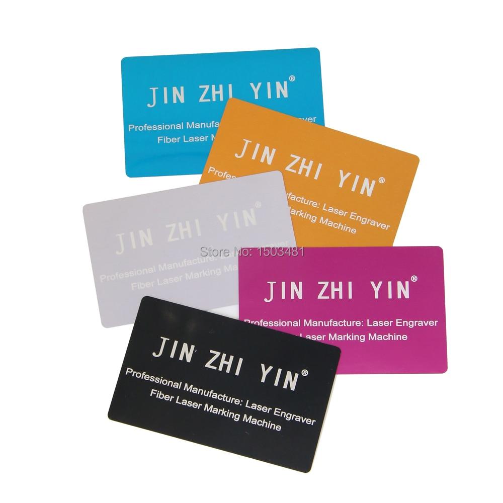 JINZHIYIN alumine cartes de visite pour fibre laser machine de marquage test 100 pcs/lot avec un bon prix