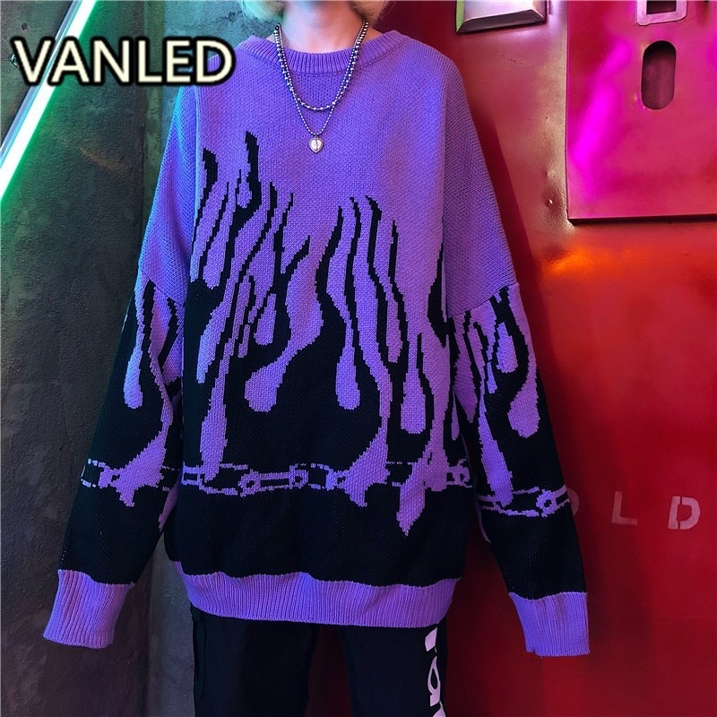 Outono inverno harajuku chama tricô bat manga pulôver camisola feminina maré outerwear