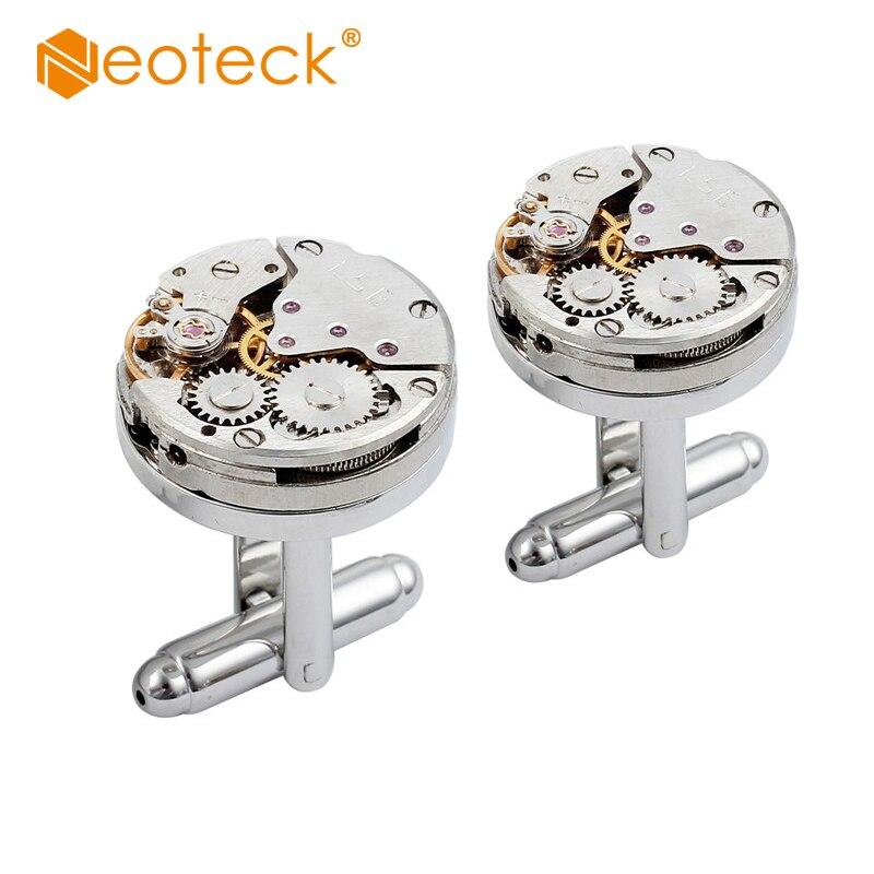 Neoteck 2 шт часы Рабочая форма движения запонки в стиле стимпанк нержавеющая сталь для мужчин бизнес свадьба элегантный дисплей для хранения