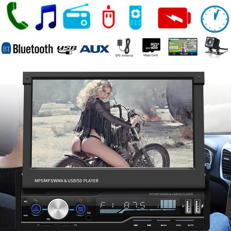 Professional Car MP5 Player 7inch 1 DIN Touch Screen Car GPS Sat Bluetooth Stereo Media MP5 Player R
