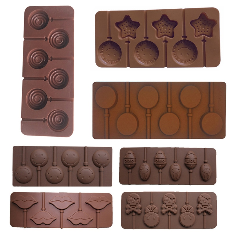 1 Pcs Ice Cookie Biscuit Mold Pan Silicone Cake Molds Pudding Jelly Candy Cake Chocolate Soap Bakeware Round Lollipop Mould new silicone animal 3d mold unicorn shape ice cube candy chocolate cake cookie cupcake molds soap mould baking pan pastry tools