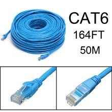 Azul 50 m/164 pés rj45 cat6 cat6e ethernet internet lan fio cabo de rede para portátil roteador cabo de rede