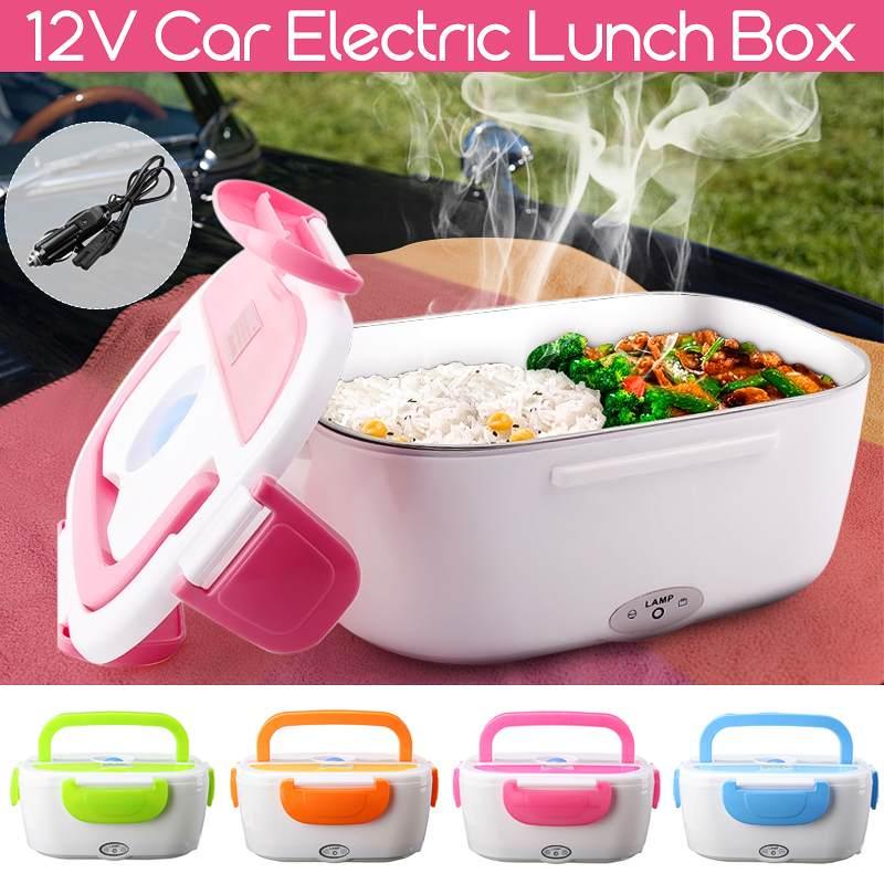 12V coche macho calefacción eléctrica de alimentos calentador de caja Bento portátil Oficina casa calentador de alimentos extraíble con contenedor de cuchara