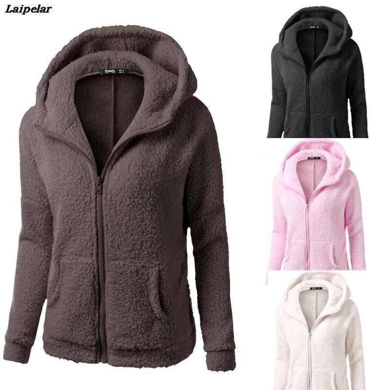 Laipelar New Fashion Women Hooded Sweater Coat Winter Warm Wool Zipper Cotton Outwear