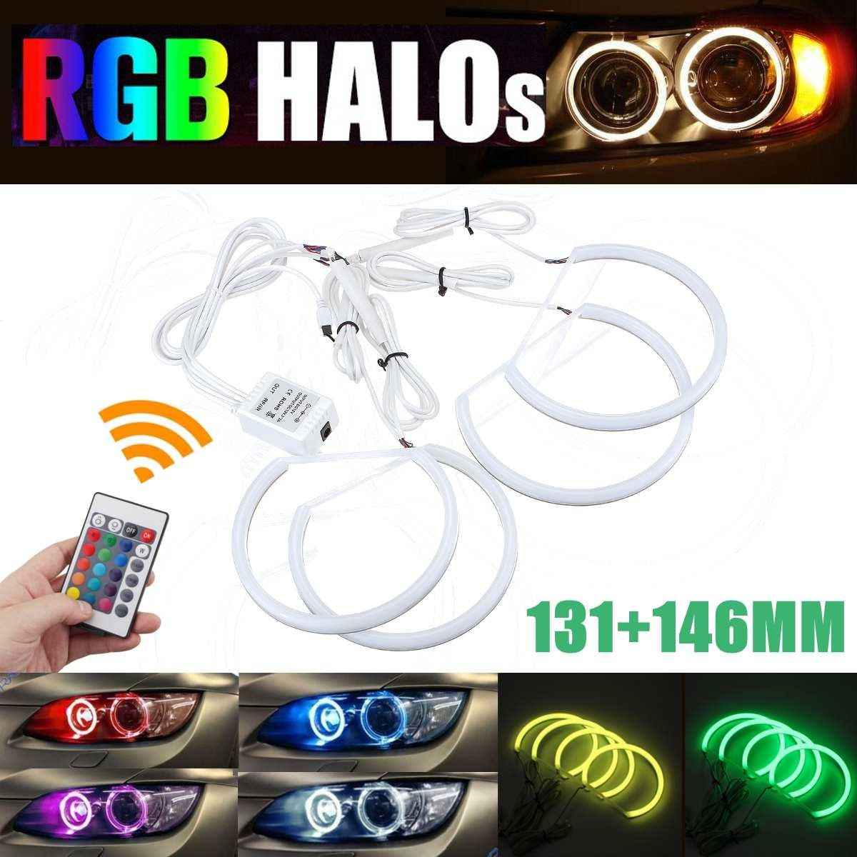 Ángel RGB ojos control remoto 2*131mm 2*146mm algodón anillo halo kit para BMW E46 A + B sin proyector 4D 16 colores flash