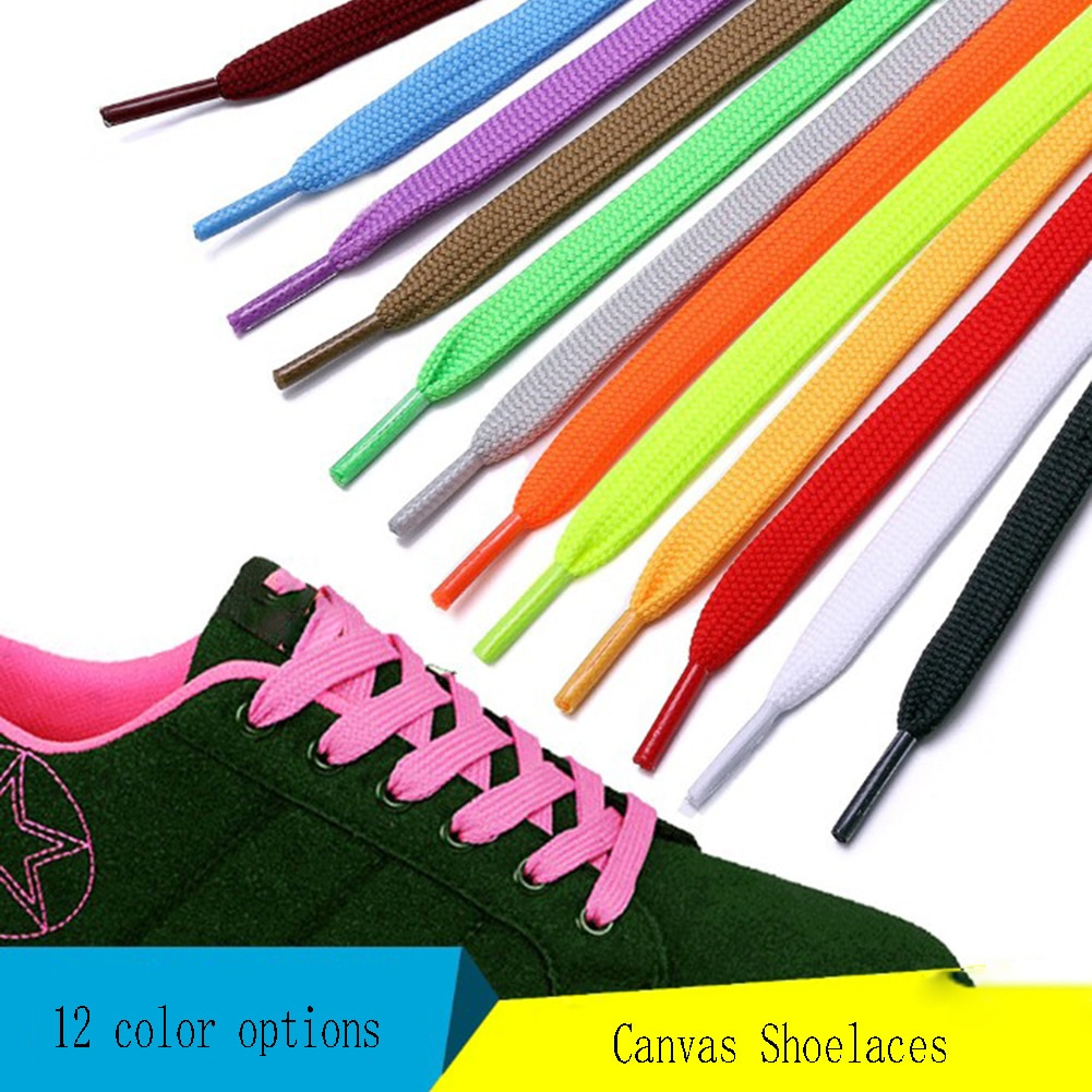 1 Pair 100Cm Flat Popular Sportings Shoes Laces Fluorescent Green Fashion Black Hot Sale Chic Casual
