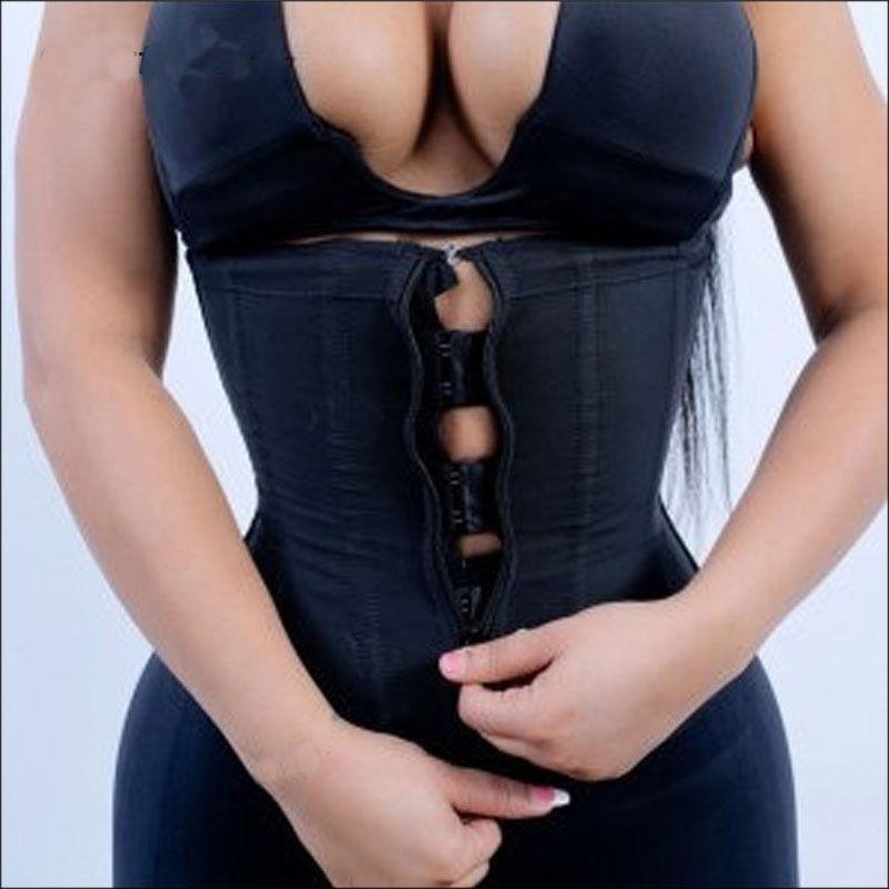 Hirigin Corset Body Shaper Latex Rubber Waist Trainer Underbust Zipper Slimming Cincher