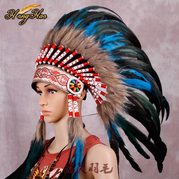 غطاء رأس هندي مصنوع يدويًا من الريش الأحمر والأسود ، غطاء رأس هندي مصنوع يدويًا ، غطاء رأس ، قبعة حرب