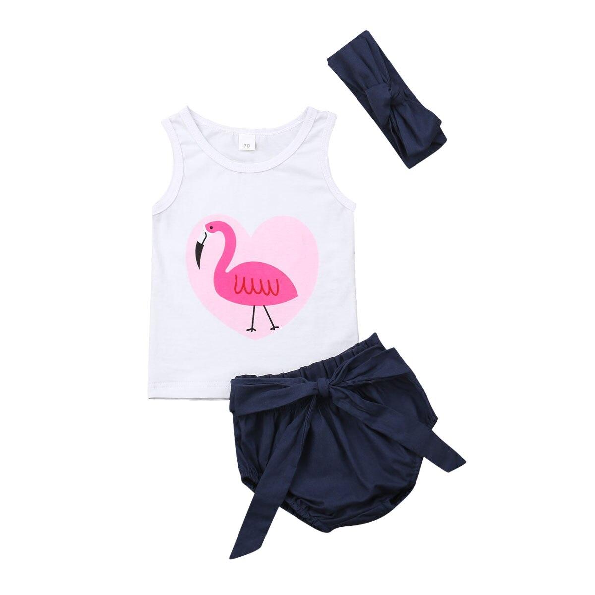 Roupas da Menina da criança Kid Baby Girl Roupas Flamingo Imprimir Vest Regatas Camisa Shorts Calças PP 2 pcs Set Outfit