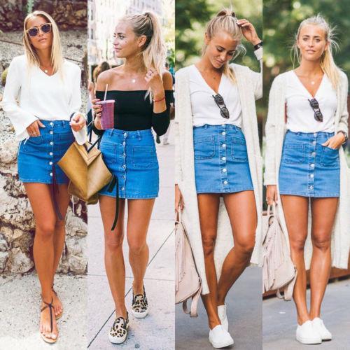 Fashion Women Girl Button Denim Skirt High Waist School Girl Bodycon Slim Pencil Short Mini Skirts Summer Plus Size