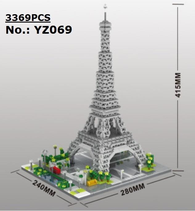 YZ-مكعبات بناء للأطفال ، مجموعة بناء صغيرة ، هندسة معمارية ، إيفل ، علامة العالم ، مكعبات بناء ، لوفر ، ألعاب أطفال ، نموذج برج إيفل ، قلعة ، هدا...