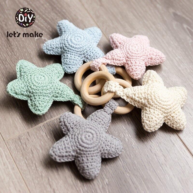 Vamos fazer chocalhos bebê crochê estrela amigurumi brinquedos do bebê para storller 0-12 meses crianças brinquedos do chuveiro do bebê chocalho presente 1pc