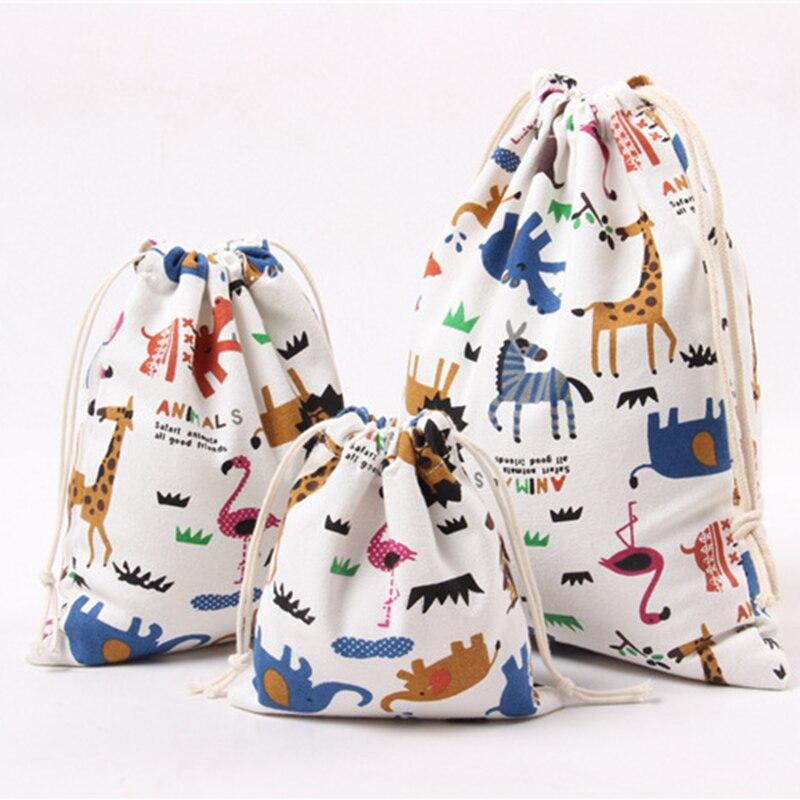 DIY lindo Animal impreso bolsas de regalo de lona de algodón bolsas de regalo de caramelo fiesta de bienvenida para el futuro bebé niños suministros de fiesta de cumpleaños Festival bolsa caja
