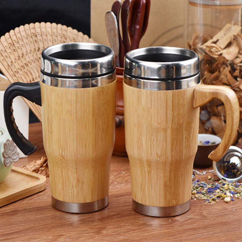 280/420/450ml 304 revestimiento de acero inoxidable marco exterior de bambú taza de agua con manija de la tapa doble aislamiento frío regalo taza té