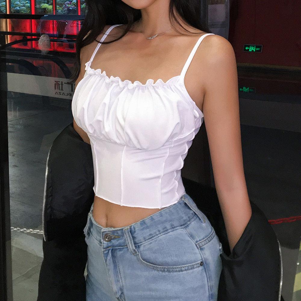 Sexy top colheita feminina sem mangas magro magro camisola bralette bustier topo 2019 verão streetwear curto t camisa superior