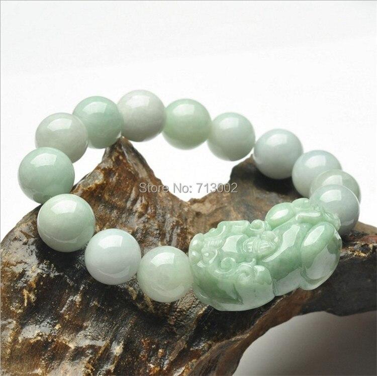 12mm beautiful jade jadeite pulseira mala talismã contas jadite pulseira com sorte pixiu fortuna