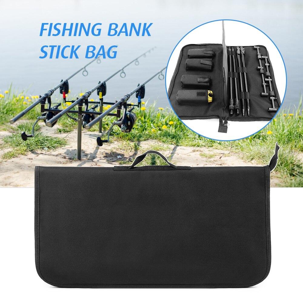 Bolsa de almacenamiento de herramientas de pesca acolchada barra organizadora de zumbido de pesca cebo de pesca bolsa de alarma Fisihing Banco palo bolsa