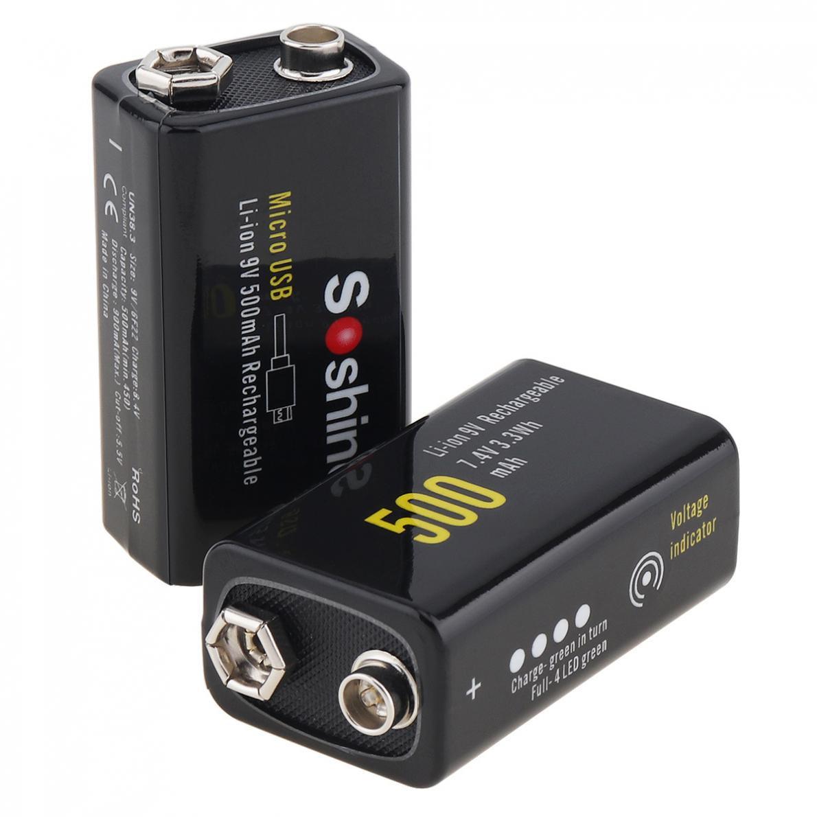 Soshine 2 uds 9V 6F22 500Mah Li-Ion 7,4 V 3.3Wh batería recargable micro-usb protegido para micrófono inalámbrico multímetro Alar