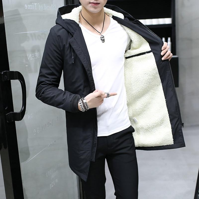 Мужская приталенная куртка с капюшоном, длинная кашемировая парка в Корейском стиле, хлопковая молодежная одежда, зима 2021