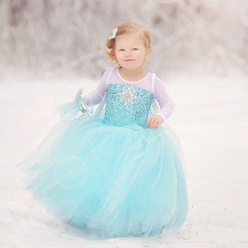 Caricatura de Snow Queen Elsa Dress for Girls Sequined corpiño con cristales para niños, vestido de fiesta, disfraz de Carnaval Halloween