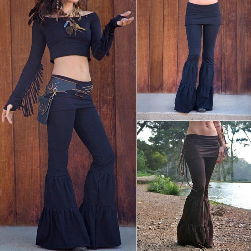 2018 Womens Flare Pants Bell Bottom Wide Leg Flare Stretch High Waist Boho Pants Casual Solid Elastic Waist Flat Trousers