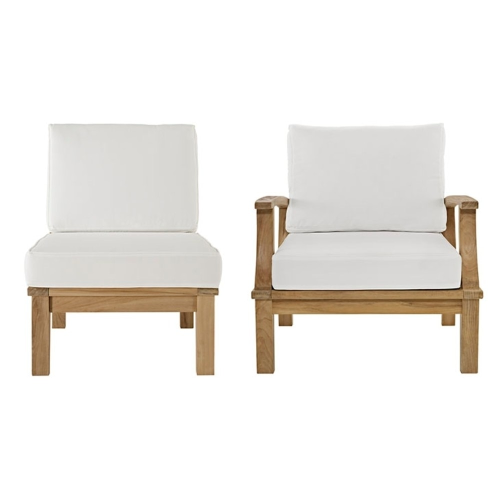 """Марина 2 шт Открытый Патио Тик Диван натуральный белый размер: 31 5 &quotLx32.5"""" Wx31.5"""
