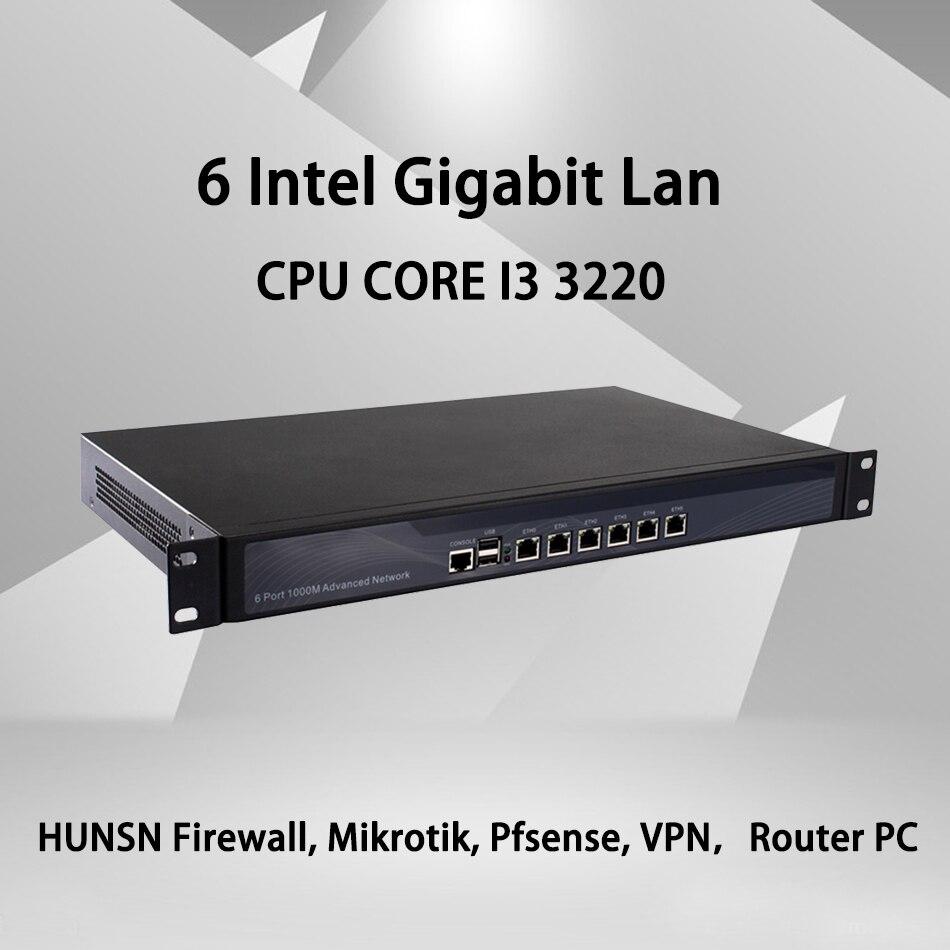 Cortafuegos Mikrotik Pfsense VPN Router de seguridad de red PC Intel Celeron I3 3220,[HUNSN SA10R],(6Lan/2USB/1COM/1VGA)