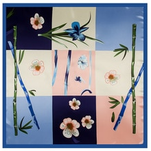 New Arrival Korean Style Grid Frame Print Silk Satin Square Scarf Spring Autumn Women Scarfs Shawls 90*90 Cm For Ladies Flower