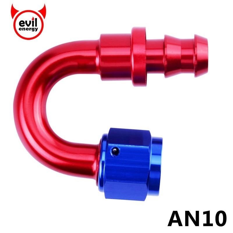 Energía malvada AN10 de combustible de aceite empujar en el extremo de la manguera 0/45/90/180 grado de aceite accesorio de aluminio accesorios de extremo de manguera reutilizable enfriador de aceite