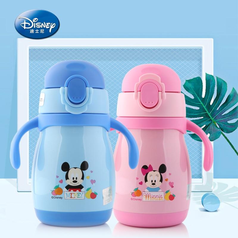 Genuine Disney Baby Feeder Wide Break-resistant Nuk With Handles Feeding Bottle Silicone Sraw Nipple Water Baby Feeding Bottle