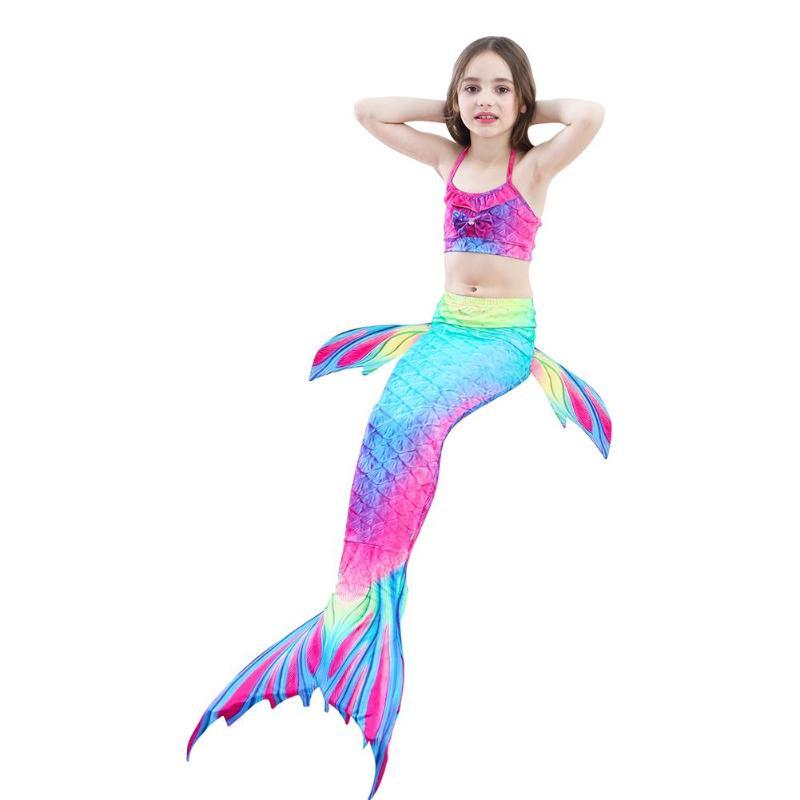 Детский купальный костюм русалки, бикини для девочек, хвост русалки с ребристым купальником, детская одежда, Раздельный купальник, хвост, платье русалки, купальник