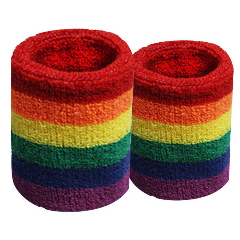 Coloridas pulseras arcoíris banda de mano Sweatband sudor absorbente baloncesto deportes suministros envolturas protectores muñeca transpirable