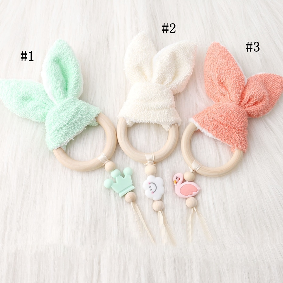Mordedor de madera anillo de conejito oreja de algodón nubes de silicona para bebé juguetes para bebés sonajero para cama bebé mordedor cama cochecito Juguetes