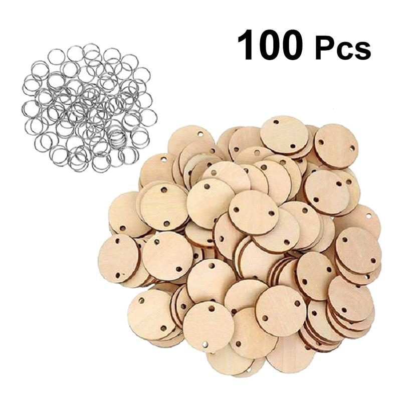 50 шт календарь Дерево кусок круглая форма запись чипы кулон деревянный Рождественский ломтик украшения Diy ремесло украшение для дома Diy