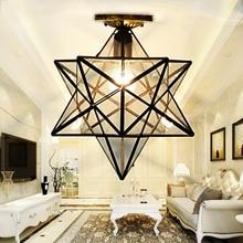 Loft Vintage Decke Lampe Licht, Schießen Stern Tiffany Glas Anhänger Beleuchtung für Home Gang Korridor Veranda Shop