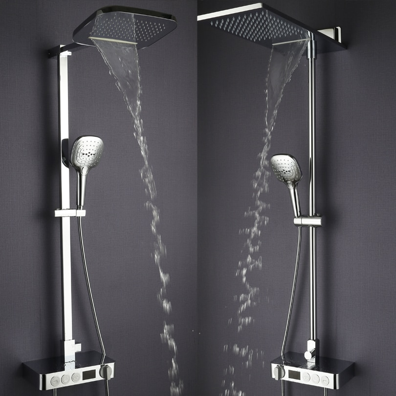 Cuarto de baño ducha de lluvia conjunto de termostato grifo mezclador grifo de latón cromado cascada baño ducha sistema de Panel de ducha Digital
