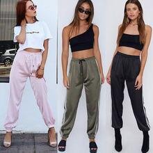 Women Ladies Casual Fashion Active Pants 3 Style Solid Striped Slim High Waist Elastic Waist Pencil Pants Size S-XL