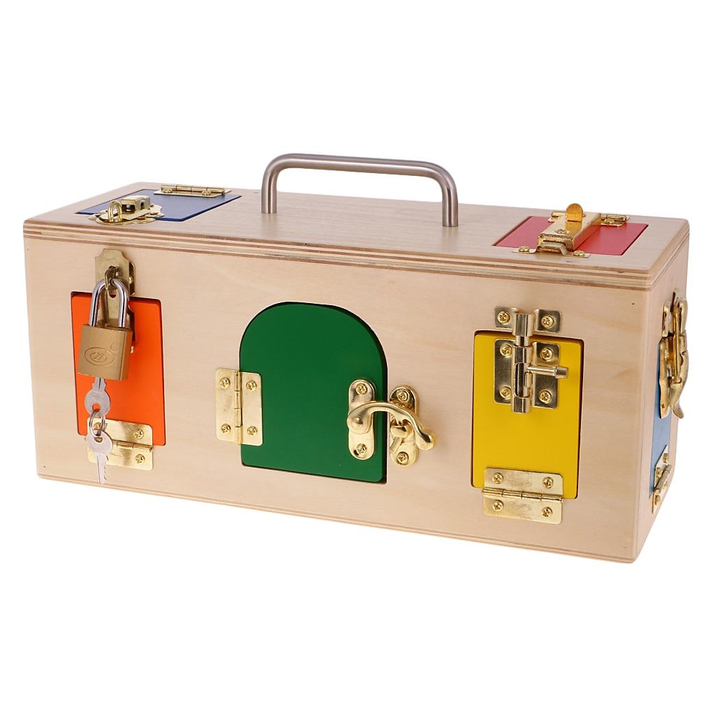 Material de la vida práctica Montessori de madera caja pequeña de la cerradura para los niños del bebé juguete de Entrenamiento Educativo Regalo de Cumpleaños de los niños