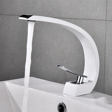 Black Faucet White Basin Faucets Modern Bathroom Mixer Tap Brass Washbasin Faucet Single Handle Brush Nickel Elegant Crane 8104