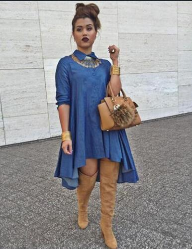 Hirigin, camiseta vaquera para mujer, camiseta vaquera, manga larga, botón drapeado, camisa informal suelta, Mini vestido